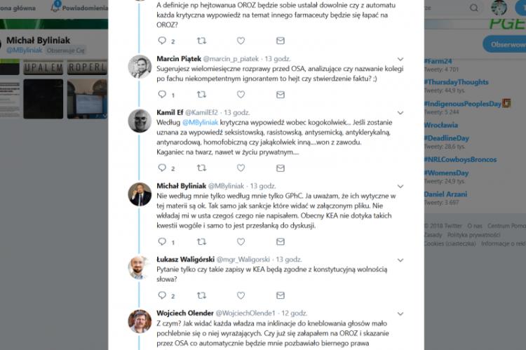 Dyskusja o standardach etycznych farmaceutów nadal trwa na Twitterze (fot. Twitter)